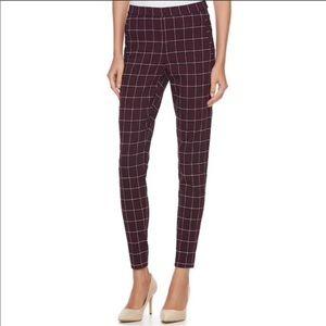 Elle dark red grid skinny pull on pants